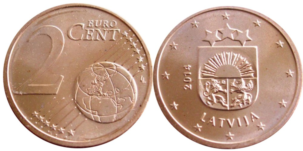 2 евроцента 2014 Латвии