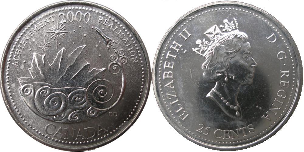 25 центов 2000 Канада — Миллениум — Достижения UNC