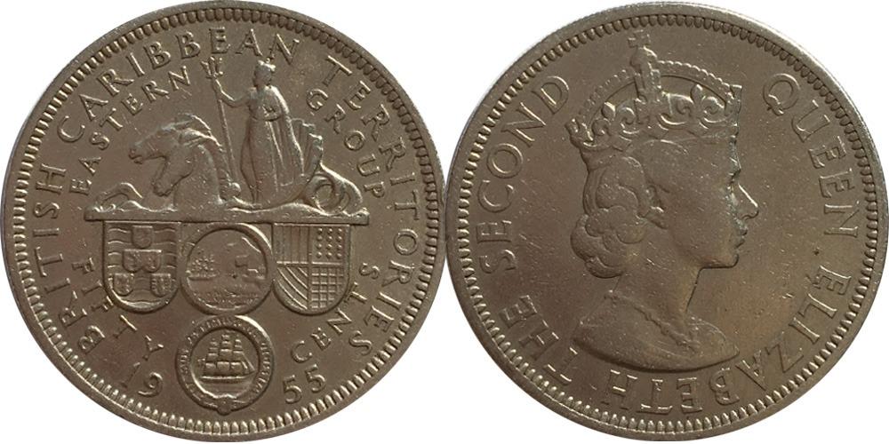 50 центов 1955 Восточные Карибы