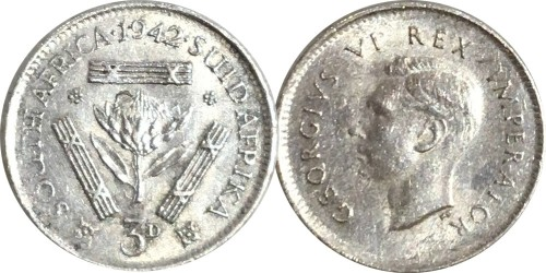3 пенса 1942 Британская ЮАР — серебро