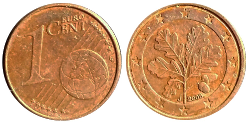 1 евроцент 2008 «J» Германия