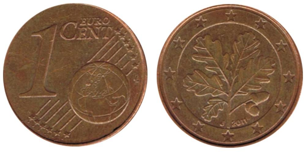1 евроцент 2011 «J» Германия