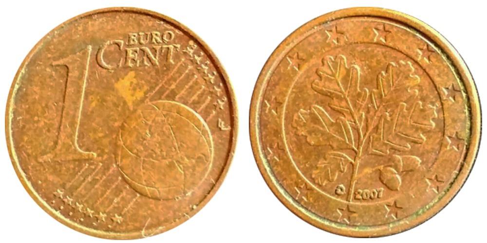 1 евроцент 2007 «D» Германия