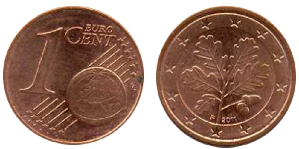 1 евроцент 2011 «F» Германия