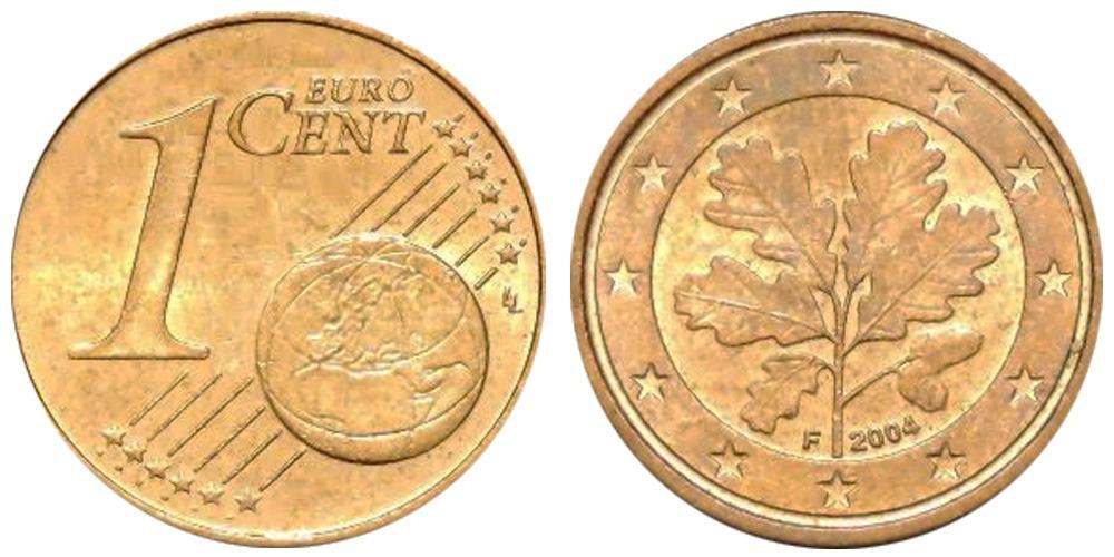1 евроцент 2004 «F» Германия