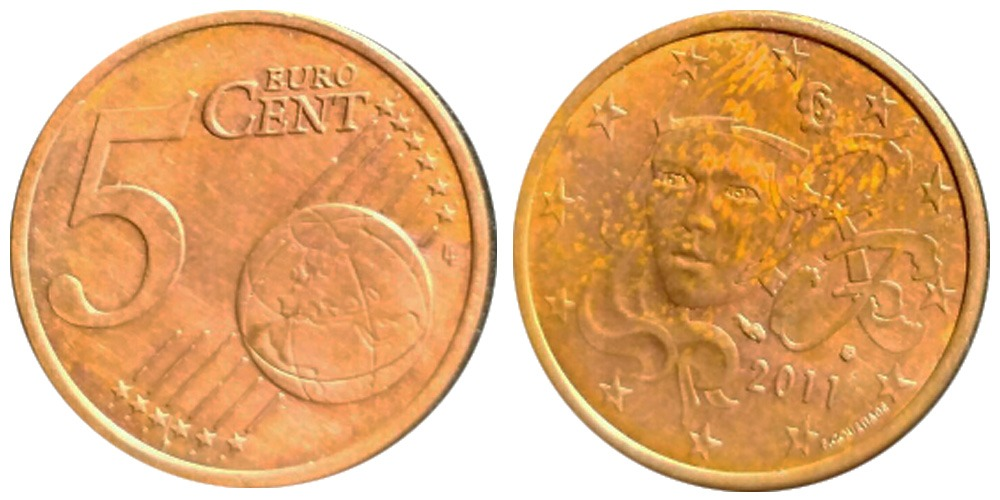1 евроцент 2011 Франция