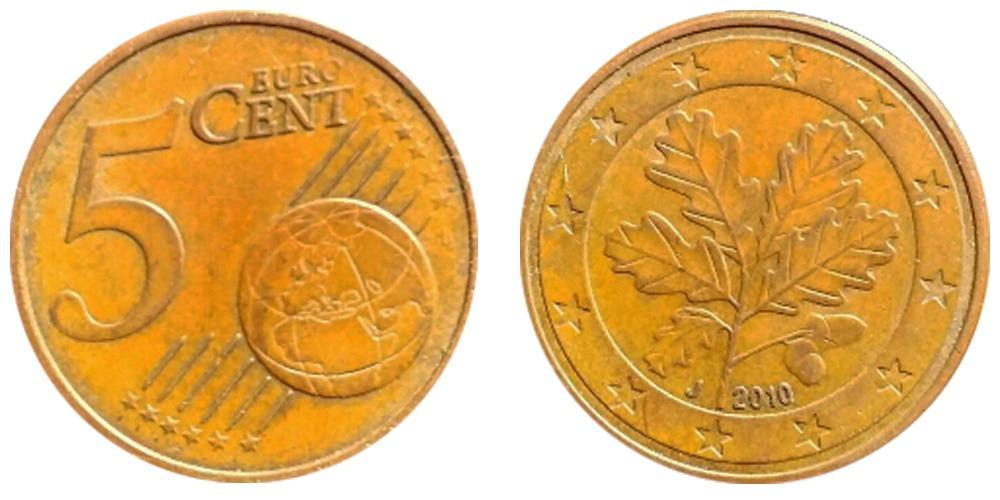 5 евроцентов 2010 «J» Германия