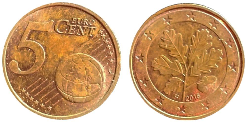 5 евроцентов 2016 «F» Германия