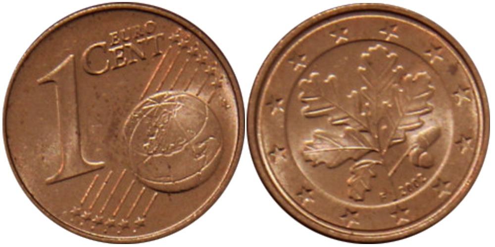 1 евроцент 2002 «F» Германия