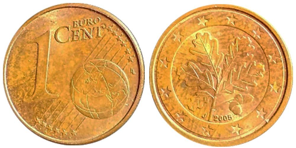1 евроцент 2005 «J» Германия