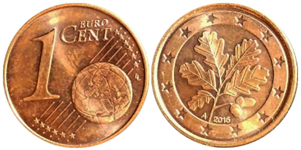 1 евроцент 2015  «А» Германия