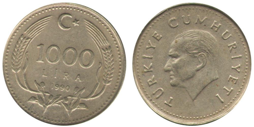 1000 лир 1990 Турция