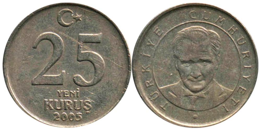 25 новых курушей 2005 Турция