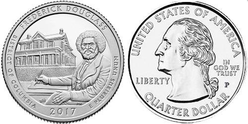 25 центов 2017 P США — Национальное историческое место Фредерика Дугласа (Округ Колумбия) UNC