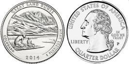 25 центов 2014 P США — Национальный парк Грейт-Санд-Дьюнс Колорадо -Great Sand Dunes UNC