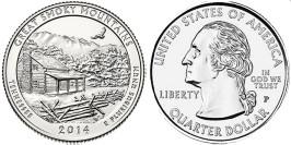 25 центов 2014 P США — Национальный парк Грейт-Смоки-Маунтинс Теннесси — Great Smoky Mountains UNC