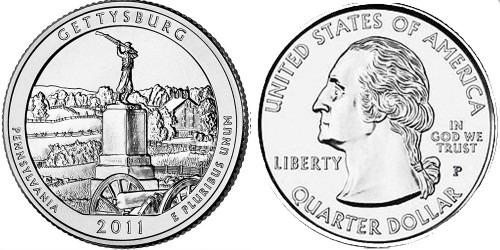 25 центов 2011 P США — Национальный парк Геттисберг (Пенсильвания) UNC