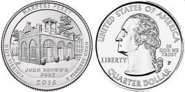 25 центов 2016 P США — Национальный исторический парк Харперс Ферри (Западная Виргиния) UNC