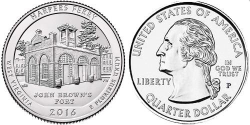 25 центов 2016 P США-Национальный исторический парк Харперс Ферри Западная Виргиния-HarpersFerry UNC