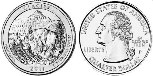 25 центов 2011 P США — Национальный парк Глейшер (Монтана) UNC