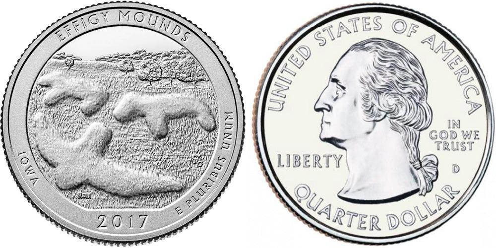 25 центов 2017 D США — Национальный памятник Эффиджи-Маундз (Айова) UNC