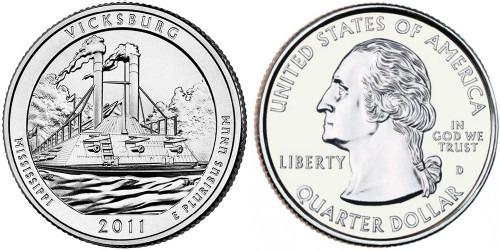 25 центов 2011 D США — Национальный парк Виксбург (Миссисипи) UNC