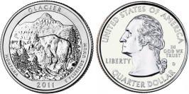 25 центов 2011 D США — Национальный парк Глейшер (Монтана) UNC