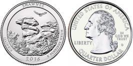 25 центов 2016 D США — Национальный лес Шоуни Иллинойс — Shawnee Illinois National Forest UNC