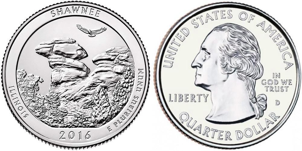25 центов 2016 D США — Национальный лес Шоуни (Иллинойс) UNC