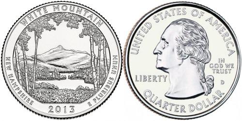 25 центов 2013 D США — Национальный лес Белые горы Нью-Гэмпшир-White Mountain National Forest UNC