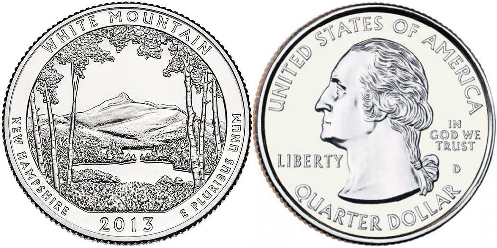 25 центов 2013 D США — Национальный лес Белые горы (Нью-Гэмпшир) UNC