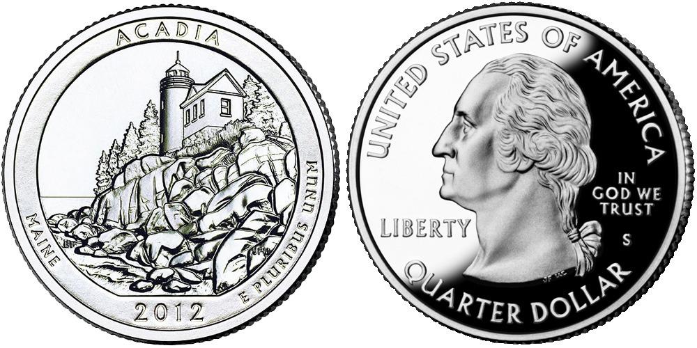 25 центов 2012 S США — Национальный парк Акадия (Мэн) UNC