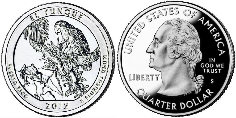 25 центов 2012 S США — Национальный лес Эль-Юнке (Пуэрто-Рико) UNC