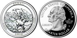 25 центов 2012 S США — Национальный парк Денали (Аляска) UNC