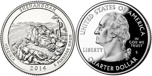 25 центов 2014 S США — Национальный парк Шенандоа Виргиния — Shenandoah Virginia National Park UNC
