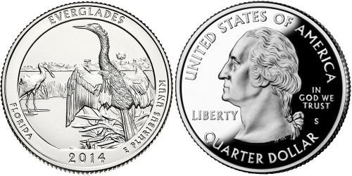 25 центов 2014 S США — Национальный парк Эверглейдс (Флорида) UNC