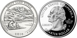 25 центов 2014 S США — Национальный парк Грейт-Санд-Дьюнс (Колорадо) UNC