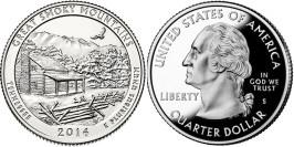 25 центов 2014 S США — Национальный парк Грейт-Смоки-Маунтинс Теннесси — Great Smoky Mountains UNC