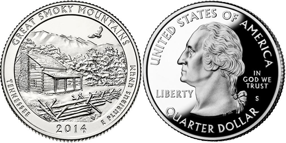 25 центов 2014 S США — Национальный парк Грейт-Смоки-Маунтинс (Теннесси) UNC