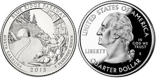 25 центов 2015 S США — Автомагистраль Блу-Ридж Северная Каролина — Blue Ridge Parkway UNC