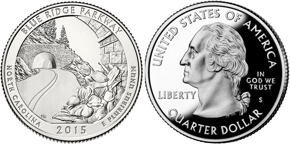 25 центов 2015 S США — Автомагистраль Блу-Ридж (Северная Каролина) UNC