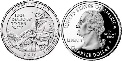 25 центов 2016 S США — Национальный исторический парк Камберленд-Гэп Кентукки — Cumberland Gap UNC