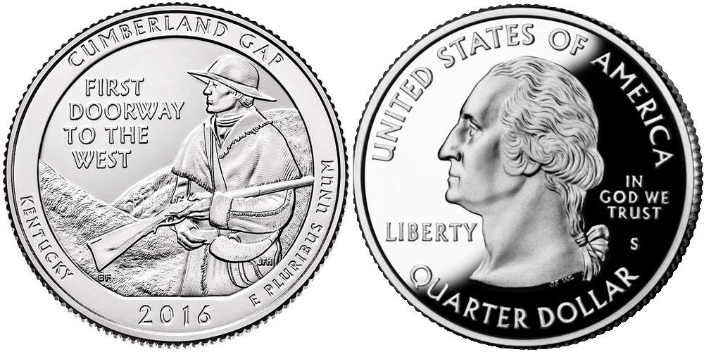 25 центов 2016 S США — Национальный исторический парк Камберленд-Гэп (Кентукки) UNC