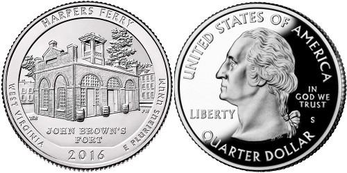 25 центов 2016 S США-Национальный исторический парк Харперс Ферри Западная Виргиния-Harpers FerryUNC