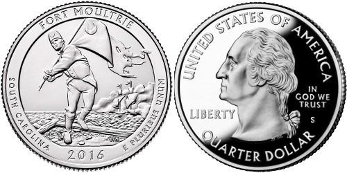 25 центов 2016 S США — Форт Молтри (Южная Каролина) UNC