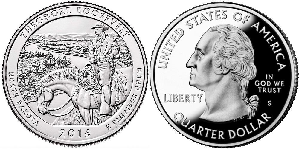 25 центов 2016 S США — Национальный парк Теодор-Рузвельт (Северная Дакота) UNC