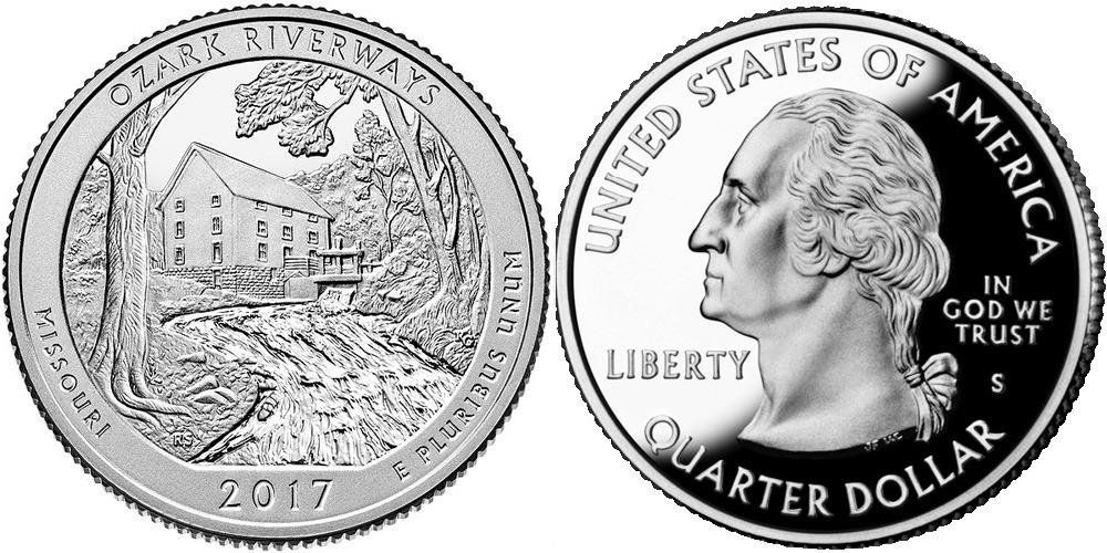 25 центов 2016 S США — Национальные водные пути Озарк (Миссури) UNC