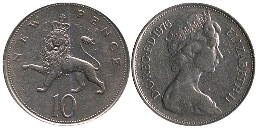 10 новых пенсов 1976 Великобритания
