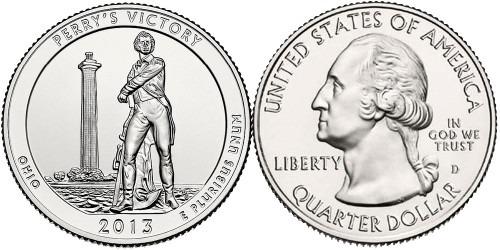 25 центов 2013 D США — Международный мемориал мира (Огайо) UNC