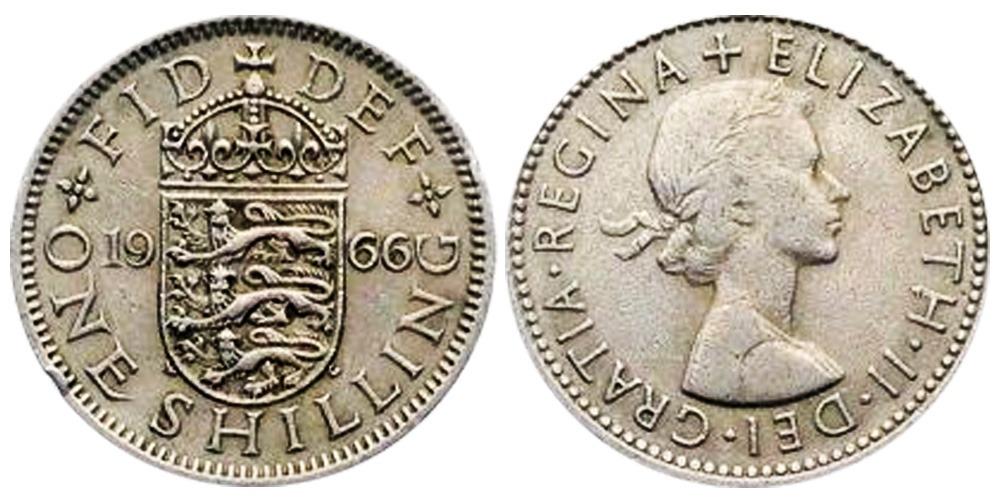 1 шиллинг 1966 Великобритания — Английский герб — 3 льва внутри коронованного щита